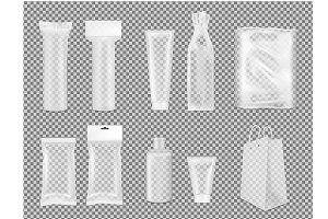 Transparent empty plastic packaging