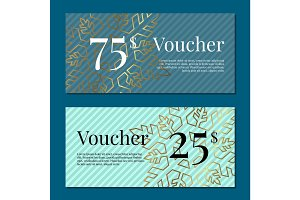 Voucher on 25 -75$ Set of Posters Gold Tags Label