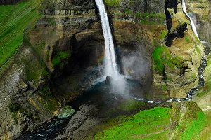 famous Haifoss waterfall in southern Iceland