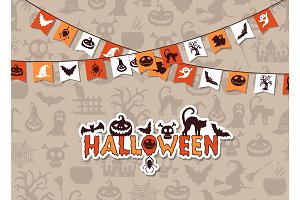 Vector halloween background with garlands