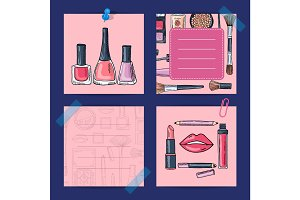 Vector hand drawn makeup products, nail polishes, lipsticks
