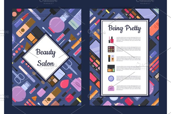 Vector card, flyer, brochure template for beauty brand,presentation with flat style makeup and skincare
