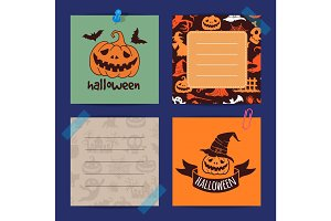 Vector halloween notes set template