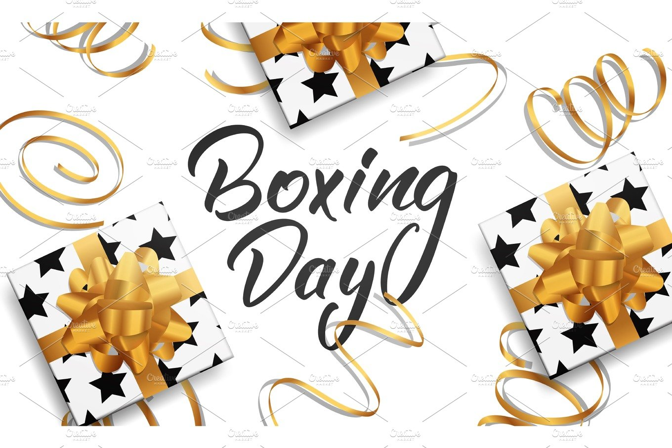 Boxing Day Banner With Boxing Day Lettering Text Glossy Gift