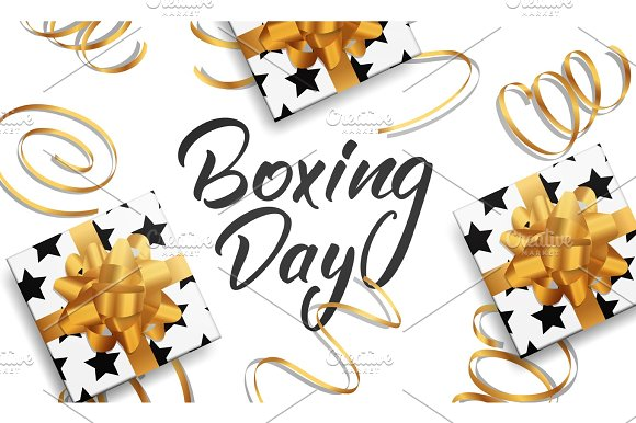 Boxing Day. Banner with Boxing Day lettering text, glossy gift packages and realistic gold confetti.