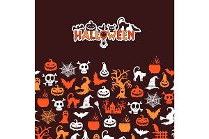 Vector halloween background with witches, pumpkins, ghosts, spiders silhouettes