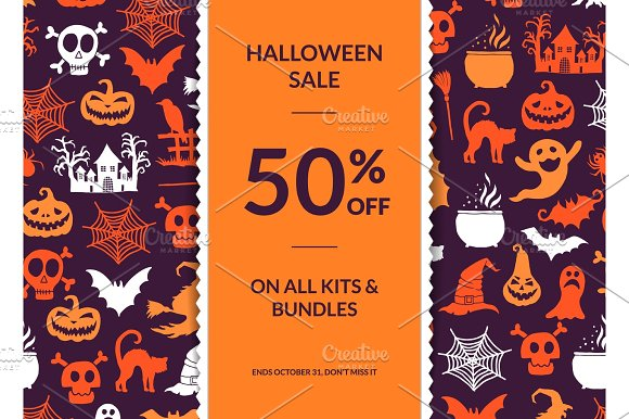 Vector halloween background with vertical decorative ribbon, witches, pumpkins, ghosts, spiders silhouettes