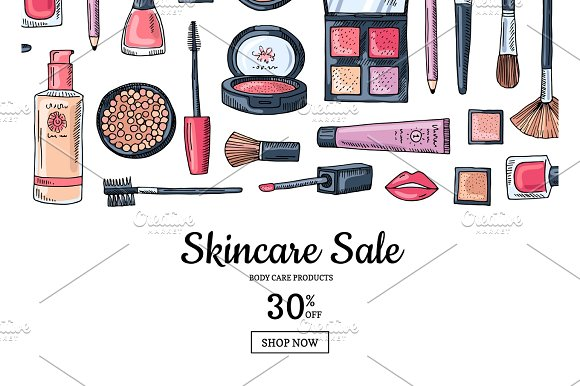 Vector hand drawn makeup products sale background