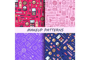 Vector hand drawn makeup patterns set