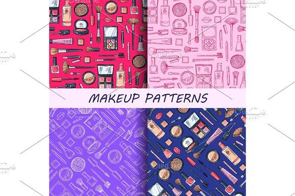 Vector hand drawn makeup patterns set