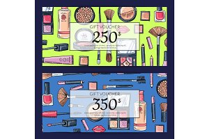 Vector gift card vouchers for beauty products with hand drawn makeup products