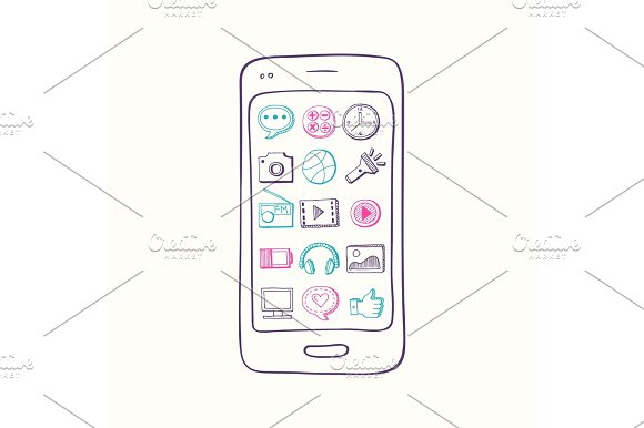 Vector hand drawn smartphone with app icon elements on screen in Graphics