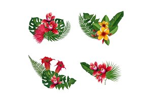 Vector tropical palm leaves and exotic flower