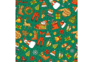 Vector hand drawn colored christmas elements with santa, xmas tree, gifts and bells pattern