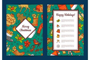Vector hand drawn colored christmas elements with santa, xmas tree, gifts and bells card template