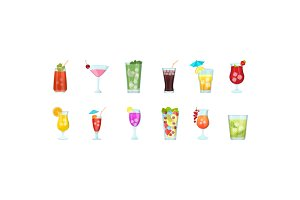 12 Flat Juice Glasses Icons