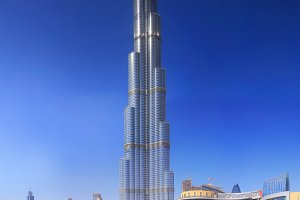 Burj Khalifa on blue sky