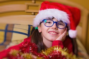 girl with santa hat