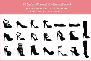 20 Women's Footwear (vector)