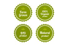 Set of badges on organic food.