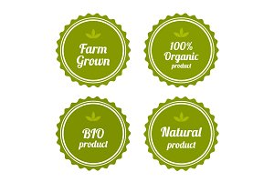 Set of badges on organic food.