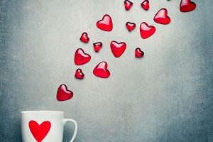Mug with red flying heart