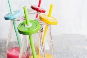 Various of colorful smoothies