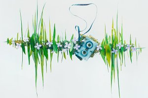 Sound wave of summer: music of nature in flowers and blades of grass