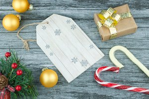 Blank wooden Christmas tag