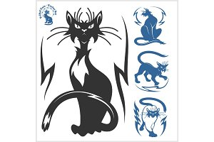 Tribal Cats for Tattoo - vector set.