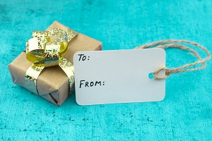 Wrapped Gift and blank gift tag