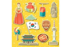Korea icons set. Korean traditional sticker symbols and objects