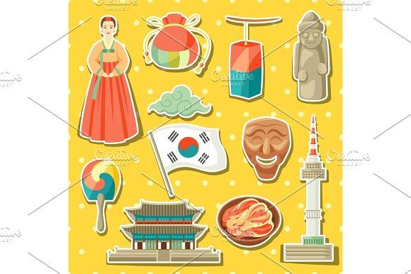 Korea Icons Set Korean Traditional Sticker Symbols And Objects