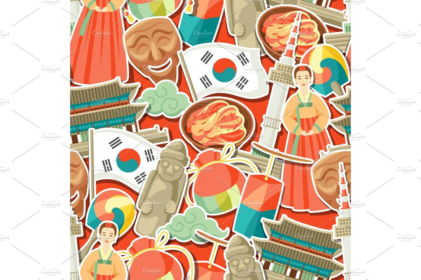 South korea icons set korean traditional symbols and objects korea seamless pattern korean traditional sticker symbols biocorpaavc Image collections