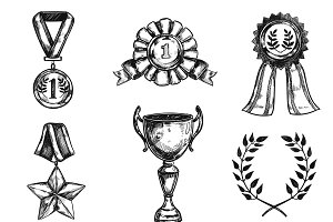 Sketch Medal Design Icon Set
