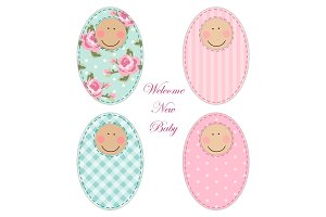 Retro fabric applique of newborn baby cartoon character