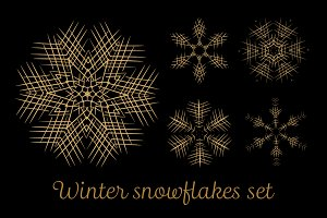 Winter snowflakes set. 5 items ver.