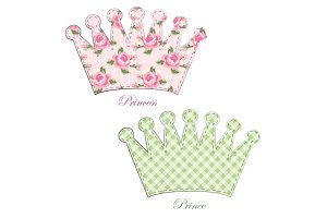 Retro applique of fabric crown in shabby chic style