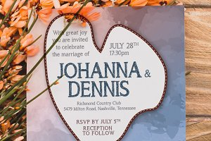 Wedding Watercolor Invitation 6 Var