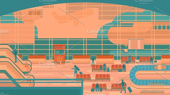 Business People Sitting And Walking In Airport Terminal Business Travel Concept Flat Design Illustration