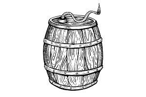 Powder keg engraving vector illustration
