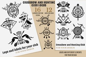 Crossbow and hunting club logos
