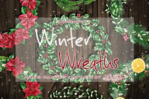 Winter Wreaths Watercolor Clip Art