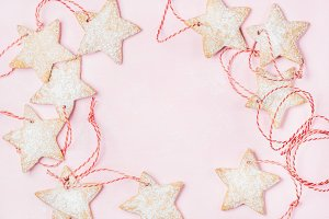 Christmas gingerbread star shaped cookies