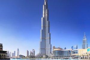Dubai skyline on blue sky