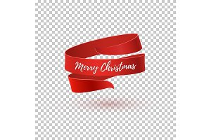 Merry Christmas red ribbon.