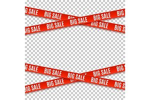 Big sale red banners. Set of warning tapes.