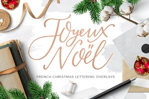 French Christmas lettering overlays