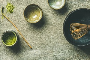 Japanese tools for brewing matcha tea