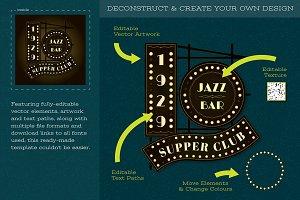 Art Deco Jazz Club Logo Template